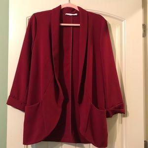 Sz L Lush thin maroon/red blazer. Good condition